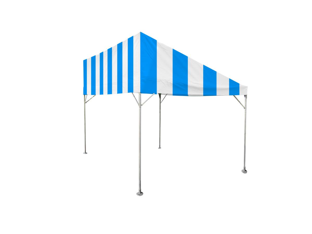 1間×2間片流れテント(青/白)
