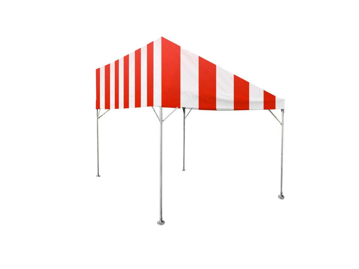 1間×2間片流れテント(赤/白)