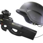 サバイバルゲームセット 光線銃とヘルメット