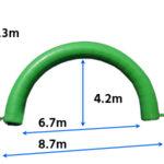 エアアーチ(8m/緑) 寸法図